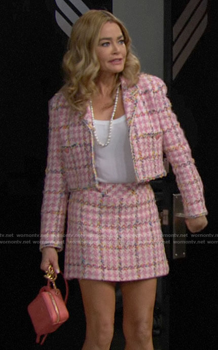 Shauna's pink houndstooth tweed jacket and skirt set on The Bold and the Beautiful