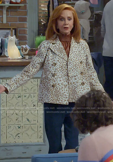 Sheila's white leopard print jacket on Call Me Kat
