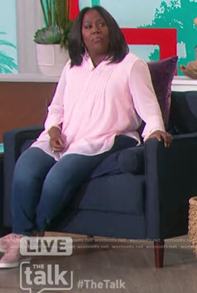 Sheryl's pink pleated blouse on The Talk