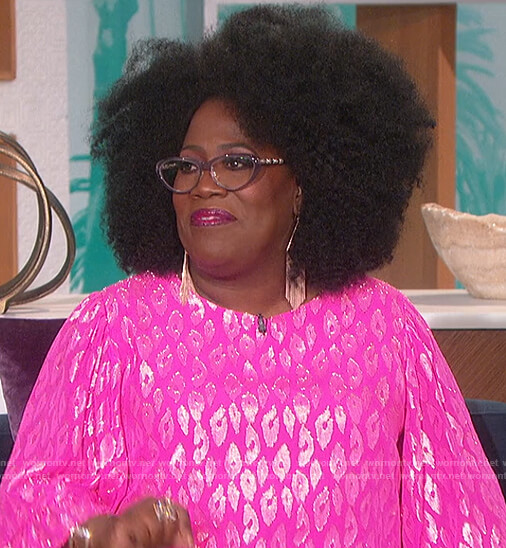Sheryl's pink metallic leopard blouse on The Talk