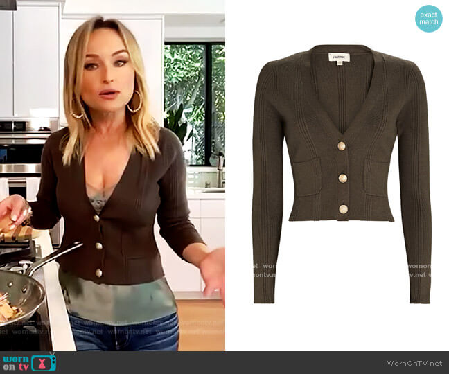 Jamie Cropped Rib Knit Cardigan by L'Agence worn by Giada De Laurentiis on The Drew Barrymore Show