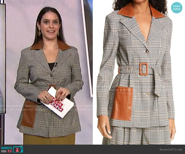 Paprika Glen Plaid Belted Jacket with Faux Leather Trim by Staud worn by Donna Farizan  on Today