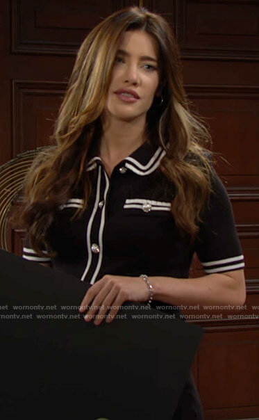 Steffy's black dress with pearl buttons on The Bold and the Beautiful