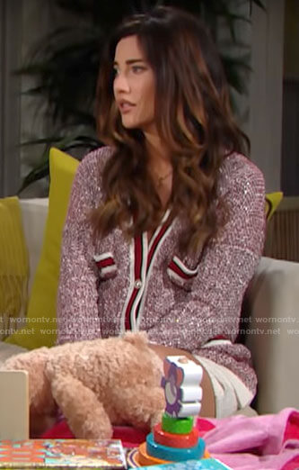 Steffy's red cardigan with pockets on The Bold and the Beautiful