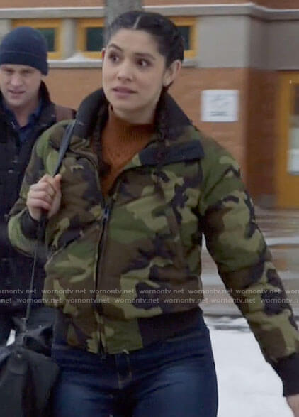 Stella's camoflague puffer jacket on Chicago Fire