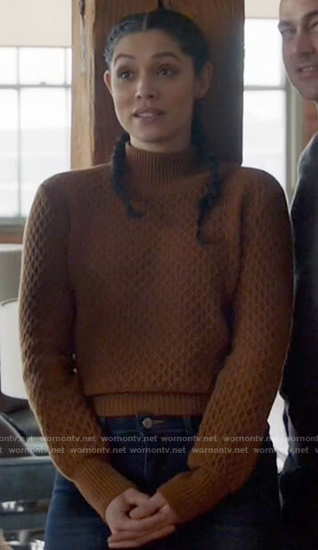 Stella's brown textured sweater on Chicago Fire