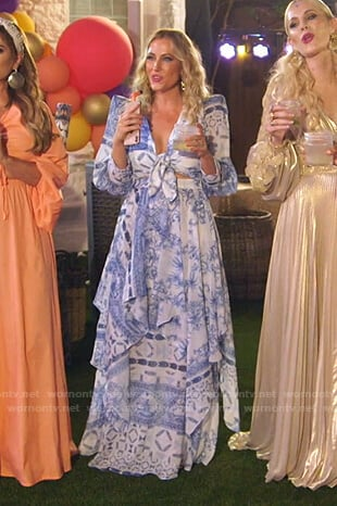 Stephanie's white and blue printed tie front top and skirt on The Real Housewives of Dallas