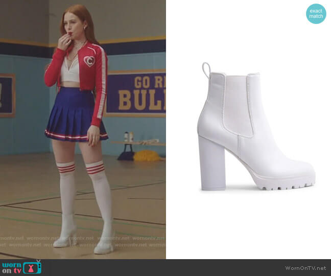 Loopy White Heels by Steve Madden worn by Cheryl Blossom (Madelaine Petsch) on Riverdale