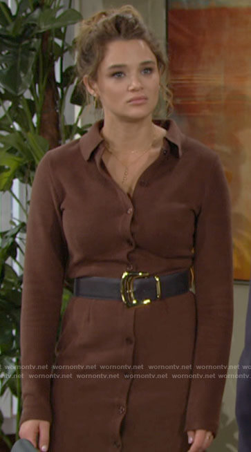 Summer's brown ribbed midi button front dress on The Young and the Restless