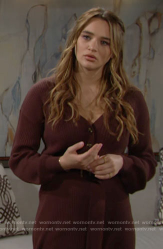 Summer's burgundy sweater dress on The Young and the Restless