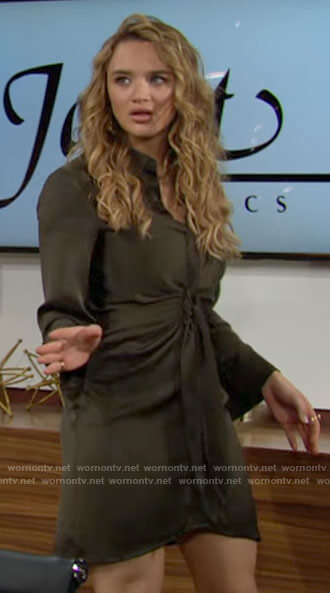 Summer's green tie front shirtdress on The Young and the Restless