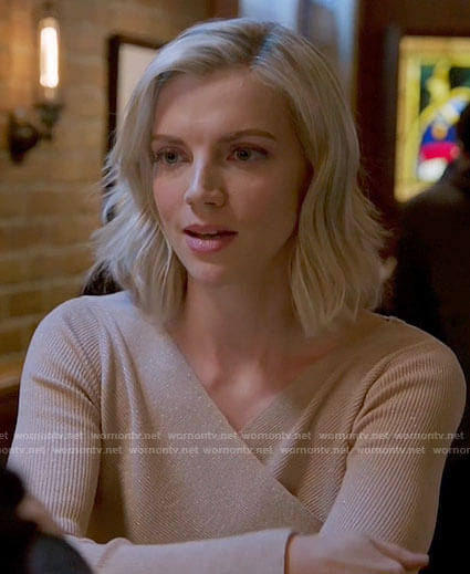 Sylvie's beige wrap front top on Chicago Fire