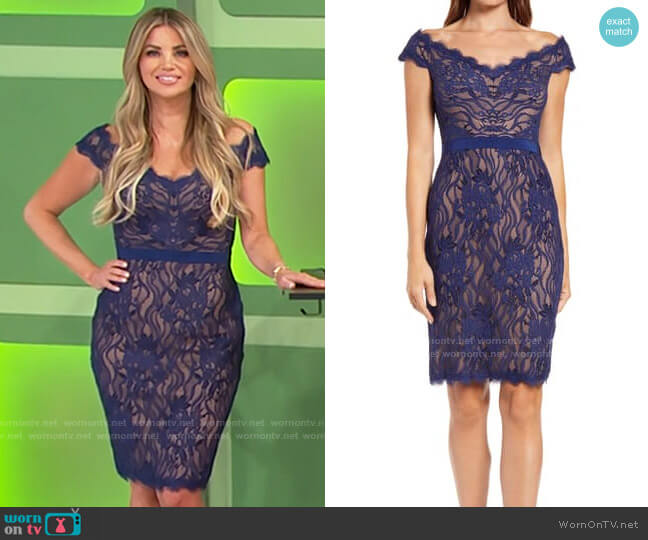 Tadashi Shoji Lace Off the Shoulder Sheath worn by Amber Lancaster  on The Price is Right
