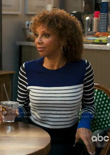 Tami's blue striped sweater on American Housewife