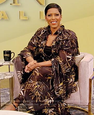 Tamron's palm print blouse and skirt on Tamron Hall Show