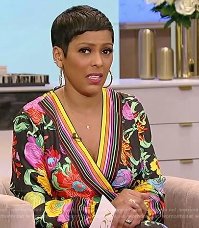 Tamron's black floral wrap dress on Tamron Hall Show