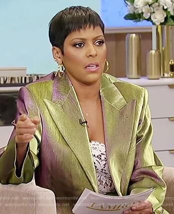 Tamron's metallic blazer on Tamron Hall Show