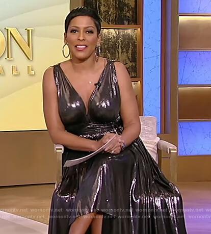 Tamron's silver metallic sleeveless dress on Tamron Hall Show