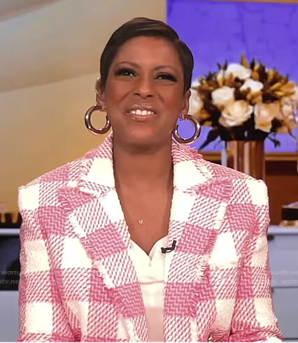 Tamron's pink and white check tweed jacket on Tamron Hall Show