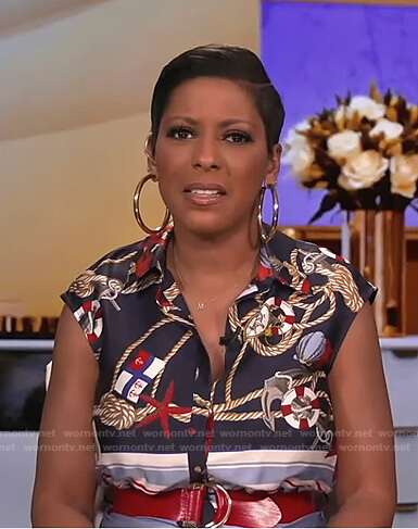 Tamron's blue printed belted dress on Tamron Hall Show