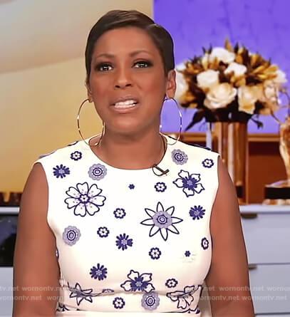 Tamron's white floral embroidered  sleeveless dress on Tamron Hall Show