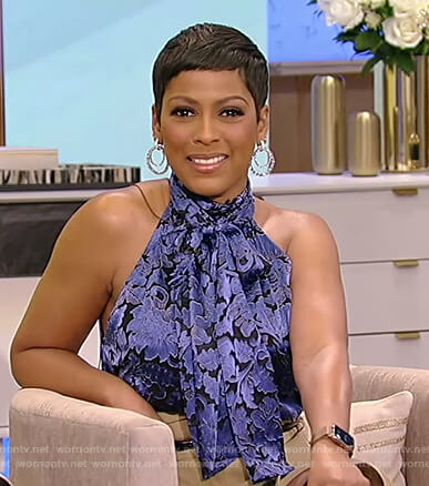 Tamron's blue floral halter top and skirt on Tamron Hall Show