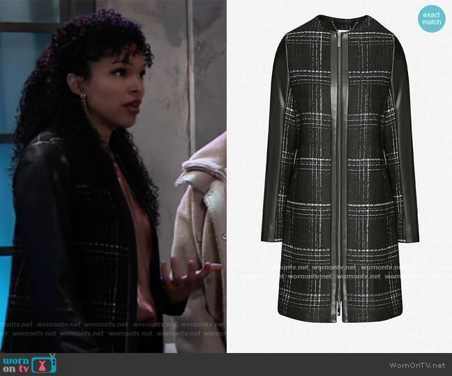 Faux-leather-trimmed checked woven jacket by Ted Baker worn by Portia Robinson (Brook Kerr) on General Hospital