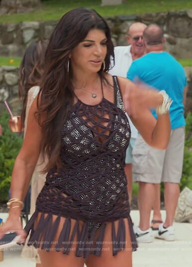 Teressa's embellished swimsuit and coverup on The Real Housewives of New Jersey