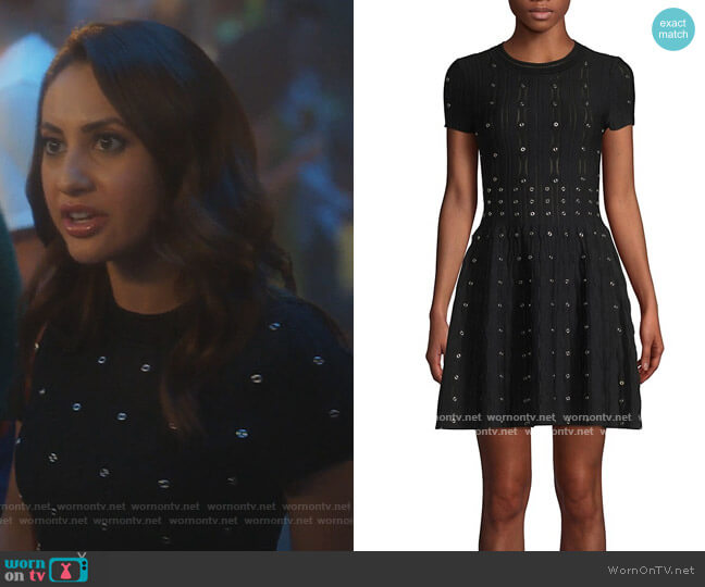 Grommet Laser Cut Smocked Fit-&-Flare Dress by The Kooples worn by Ana Torres (Francia Raisa) on Grown-ish