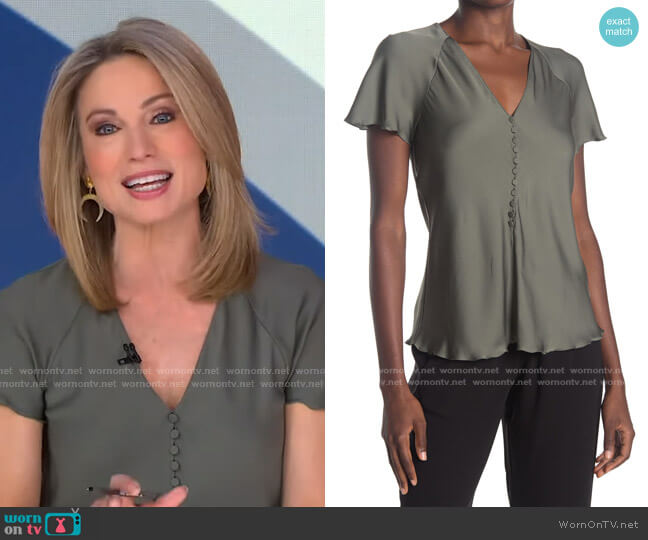 Button Front Flutter Sleeve Top by Theory worn by Amy Robach  on Good Morning America