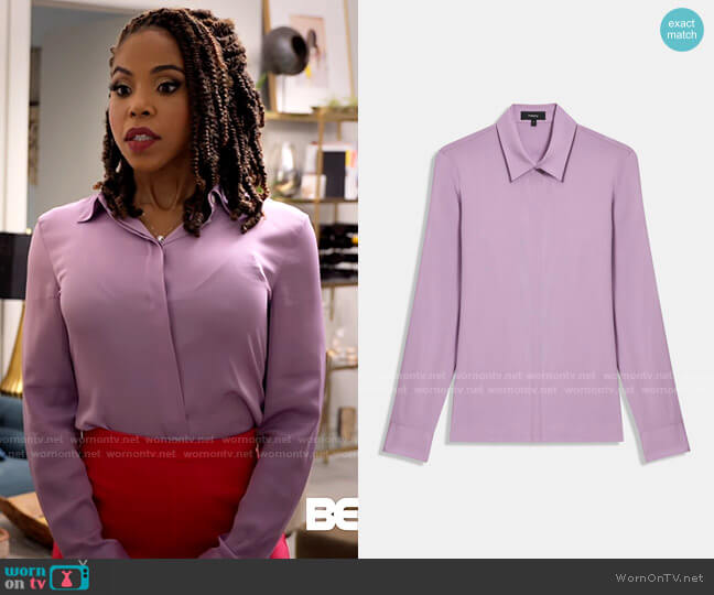 Theory Lilac Fitted Shirt worn by Andrea Barnes (Kj Smith) on Tyler Perrys Sistas