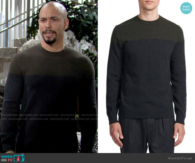 Theory Hilles Sweater in Grove Multi worn by Devon Hamilton (Bryton James) on The Young & the Restless