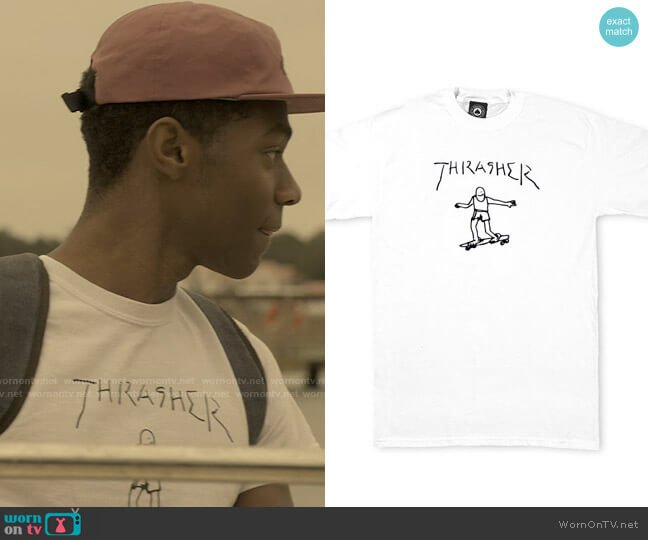 Thrasher Gonz T-Shirt By Mark Gonzales worn by Pope (Jonathan Daviss) on Outer Banks