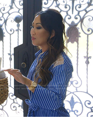 Tiffany's blue striped lace inset shirtdress on The Real Housewives of Dallas