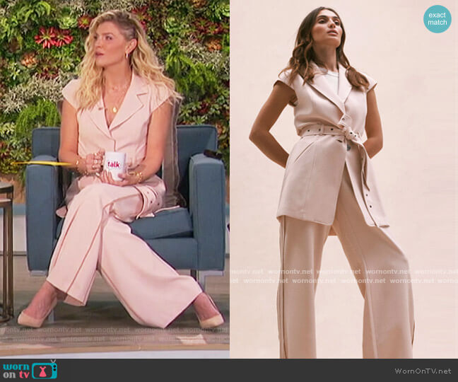 Sleeveless Belted Jacket and Pants by Toccin worn by Amanda Kloots  on The Talk