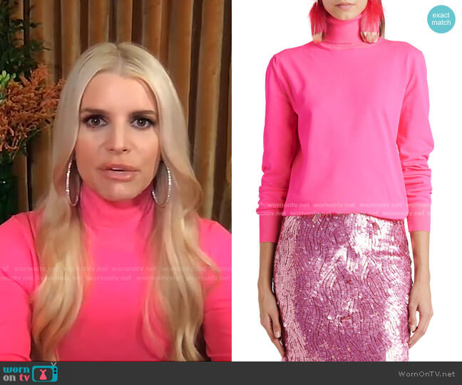 Turtleneck Knit Sweater by Tom Ford worn by Jessica Simpson on Live with Kelly and Ryan
