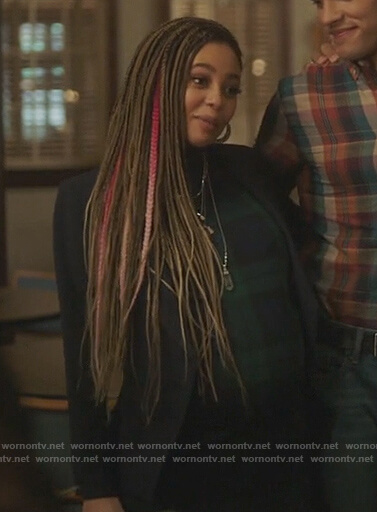 Toni's blue asymmetric blazer and plaid dress on Riverdale