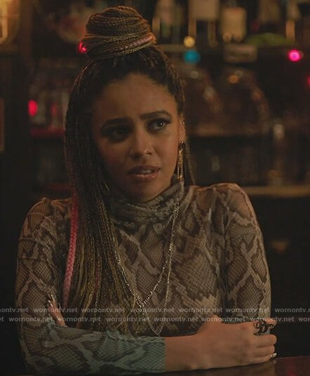 Toni's snakeskin print ombre dress on Riverdale