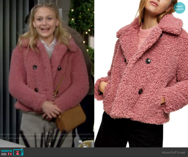 Topshop Ami Borg Faux Fur Jacket worn by Faith Newman (Alyvia Alyn Lind) on The Young & the Restless