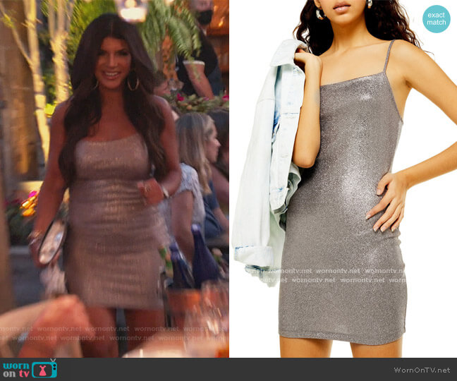 Metallic Foil Body-Con Minidress by Topshop worn by Teresa Giudice  on The Real Housewives of New Jersey