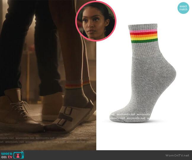 Rainbow Stripe Tube Socks by Topshop worn by Zoey Johnson (Yara Shahidi) on Grown-ish