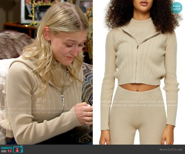 Topshop Rib Crop Hoodie worn by Faith Newman (Alyvia Alyn Lind) on The Young & the Restless
