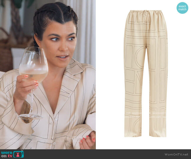 Vizelle logo-embroidered silk-twill trousers by Toteme worn by Kourtney Kardashian  on Keeping Up with the Kardashians