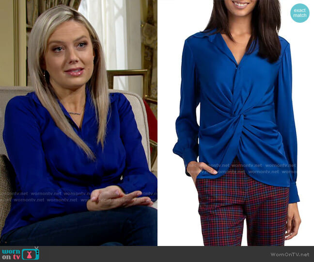 Trina Turk Lange Silk Blend Top worn by Abby Newman (Melissa Ordway) on The Young & the Restless