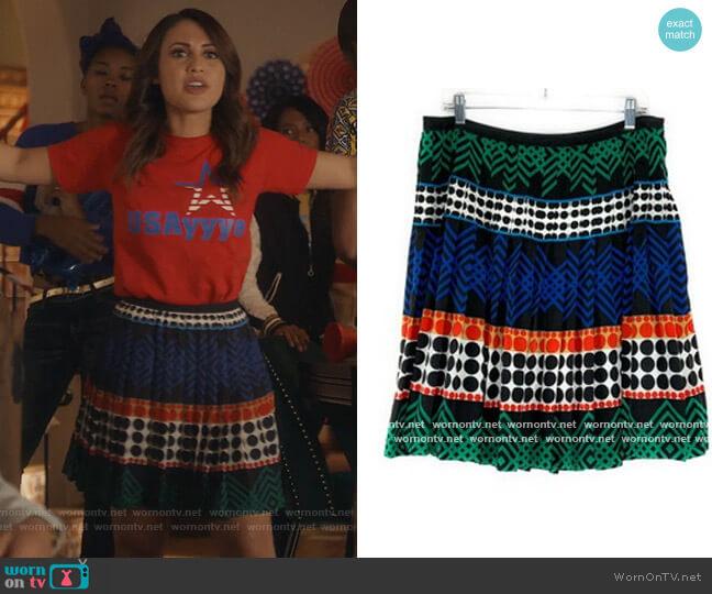 Geometric Pleated Aline Mini Skirt by Trina Turk worn by Ana Torres (Francia Raisa) on Grown-ish