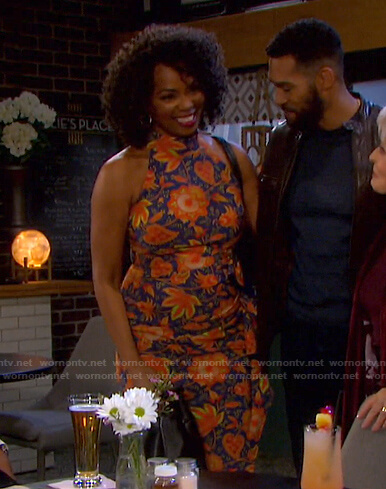 Valerie's blue and orange floral dress on Days of our Lives