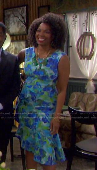 Valerie's blue floral ruffle hem dress on Days of our Lives