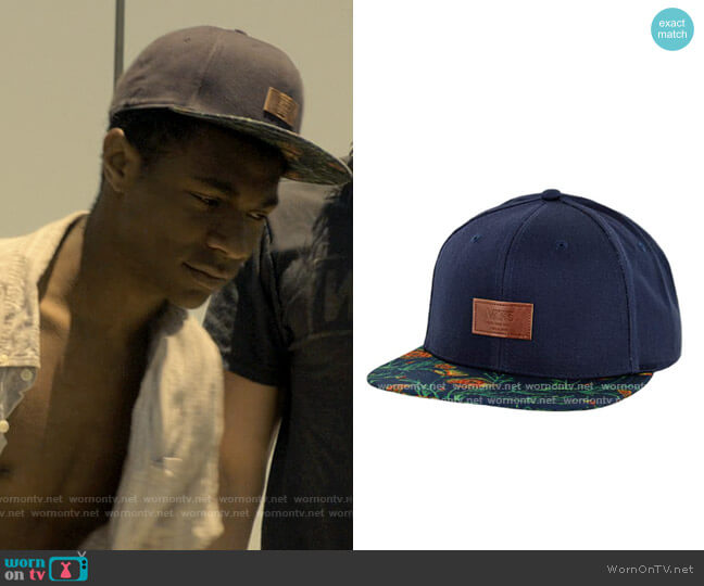 Vans Allover It Snapback Hat in Dress Blues/Wildflower worn by Pope (Jonathan Daviss) on Outer Banks