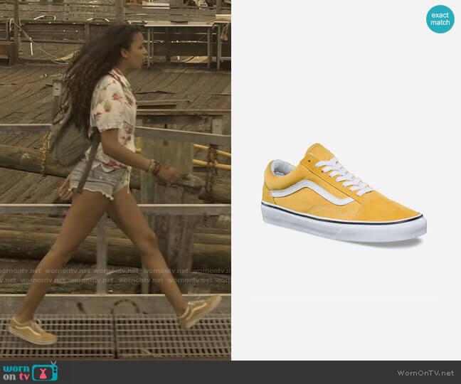 Vans Old Skool Yellow Sneakers worn by Kiara Carrera (Madison Bailey) on Outer Banks