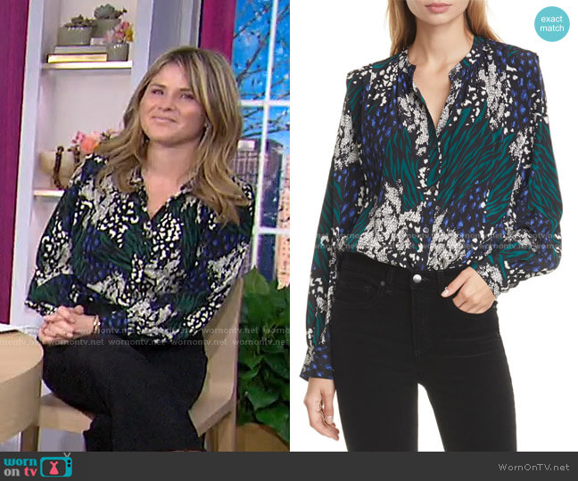 Buckley Mixed Print Stretch Silk Top by Veronica Beard worn by Jenna Bush Hager  on Today